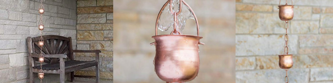Copper Rain Chains Porch